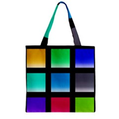 Colorful Background Squares Zipper Grocery Tote Bag