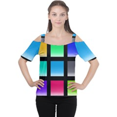 Colorful Background Squares Women s Cutout Shoulder Tee