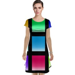 Colorful Background Squares Cap Sleeve Nightdress