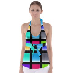 Colorful Background Squares Babydoll Tankini Top