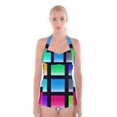 Colorful Background Squares Boyleg Halter Swimsuit