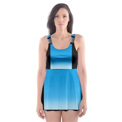Colorful Background Squares Skater Dress Swimsuit