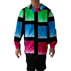 Colorful Background Squares Hooded Wind Breaker (Kids)