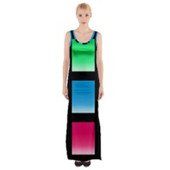 Colorful Background Squares Maxi Thigh Split Dress