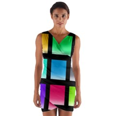 Colorful Background Squares Wrap Front Bodycon Dress