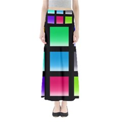 Colorful Background Squares Maxi Skirts