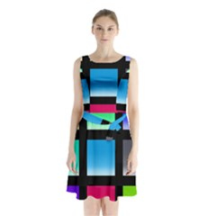 Colorful Background Squares Sleeveless Chiffon Waist Tie Dress