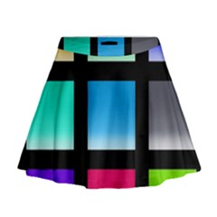Colorful Background Squares Mini Flare Skirt