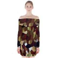 Crystallize Background Long Sleeve Off Shoulder Dress