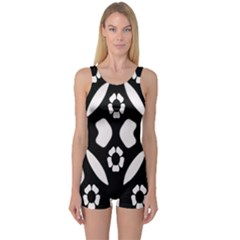 Abstract Background Pattern One Piece Boyleg Swimsuit