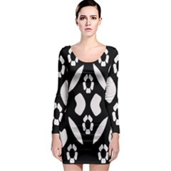 Abstract Background Pattern Long Sleeve Bodycon Dress