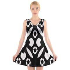 Abstract Background Pattern V Neck Sleeveless Skater Dress