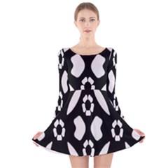 Abstract Background Pattern Long Sleeve Velvet Skater Dress
