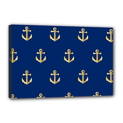 Gold Anchors On Blue Background Pattern Canvas 18  x 12