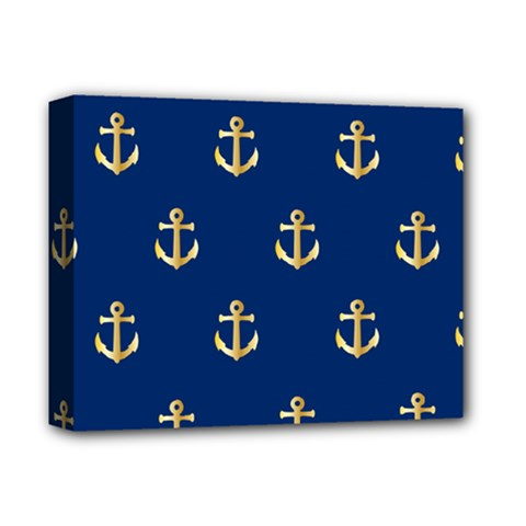 Gold Anchors On Blue Background Pattern Deluxe Canvas 14  x 11