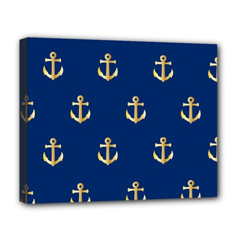 Gold Anchors On Blue Background Pattern Deluxe Canvas 20  x 16