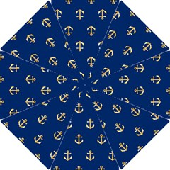Gold Anchors On Blue Background Pattern Hook Handle Umbrellas (Small)