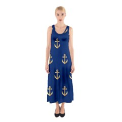 Gold Anchors On Blue Background Pattern Sleeveless Maxi Dress
