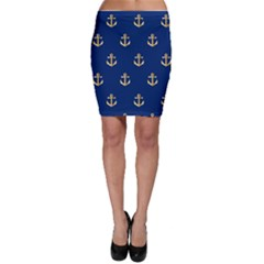 Gold Anchors On Blue Background Pattern Bodycon Skirt