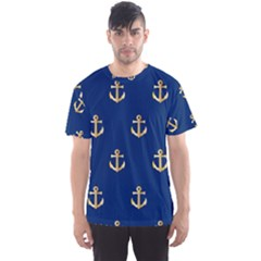Gold Anchors On Blue Background Pattern Men s Sport Mesh Tee