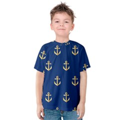 Gold Anchors On Blue Background Pattern Kids  Cotton Tee