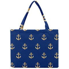 Gold Anchors On Blue Background Pattern Mini Tote Bag