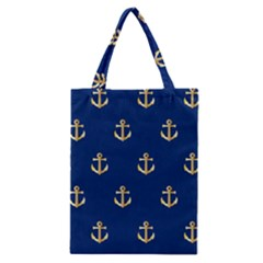 Gold Anchors On Blue Background Pattern Classic Tote Bag