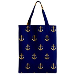 Gold Anchors On Blue Background Pattern Zipper Classic Tote Bag