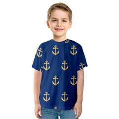 Gold Anchors On Blue Background Pattern Kids  Sport Mesh Tee