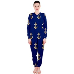 Gold Anchors On Blue Background Pattern OnePiece Jumpsuit (Ladies)