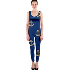 Gold Anchors On Blue Background Pattern OnePiece Catsuit