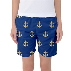 Gold Anchors On Blue Background Pattern Women s Basketball Shorts