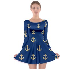 Gold Anchors On Blue Background Pattern Long Sleeve Skater Dress