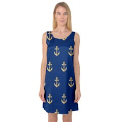 Gold Anchors On Blue Background Pattern Sleeveless Satin Nightdress