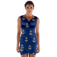 Gold Anchors On Blue Background Pattern Wrap Front Bodycon Dress