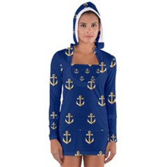 Gold Anchors On Blue Background Pattern Women s Long Sleeve Hooded T Shirt