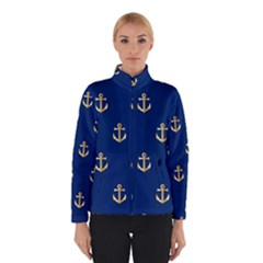 Gold Anchors On Blue Background Pattern Winterwear