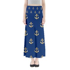 Gold Anchors On Blue Background Pattern Maxi Skirts