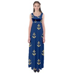 Gold Anchors On Blue Background Pattern Empire Waist Maxi Dress