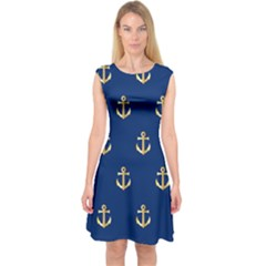 Gold Anchors On Blue Background Pattern Capsleeve Midi Dress