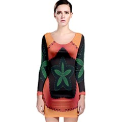 Fractal Flower Long Sleeve Bodycon Dress