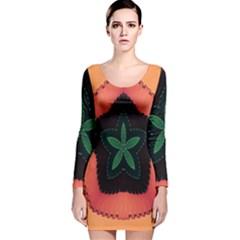 Fractal Flower Long Sleeve Velvet Bodycon Dress