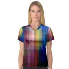 Colorful Abstract Background Women s V Neck Sport Mesh Tee