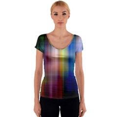 Colorful Abstract Background Women s V-Neck Cap Sleeve Top