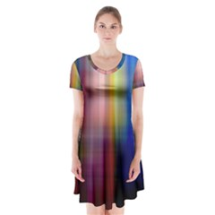 Colorful Abstract Background Short Sleeve V-neck Flare Dress