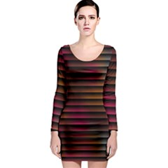 Colorful Venetian Blinds Effect Long Sleeve Bodycon Dress