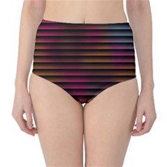 Colorful Venetian Blinds Effect High-Waist Bikini Bottoms