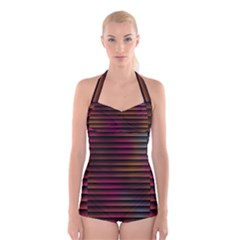 Colorful Venetian Blinds Effect Boyleg Halter Swimsuit