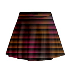 Colorful Venetian Blinds Effect Mini Flare Skirt