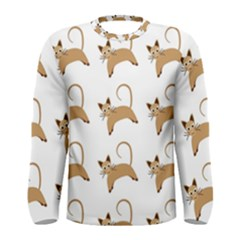 Cute Cats Seamless Wallpaper Background Pattern Men s Long Sleeve Tee